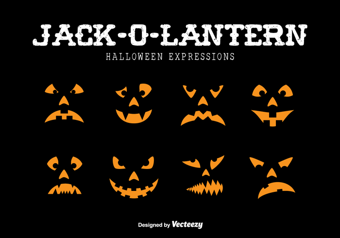 Jack-o-lantern expressions vector