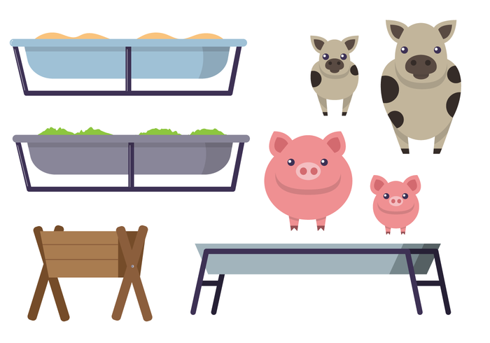 Feeding Trough With Animals Vector Set