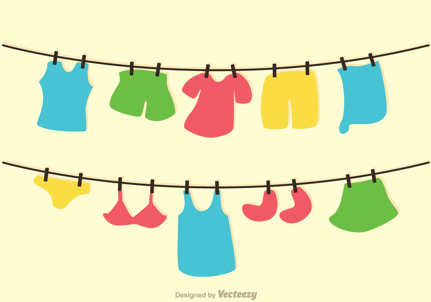 Clothes Line Clip Art ~ Clothes on washing line vector download free art