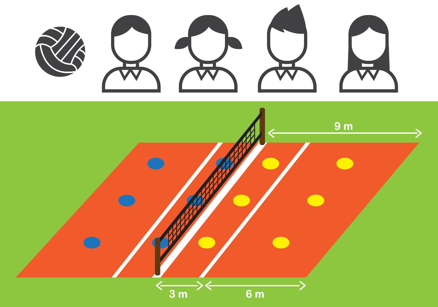Plantilla De La Cancha De Voleibol