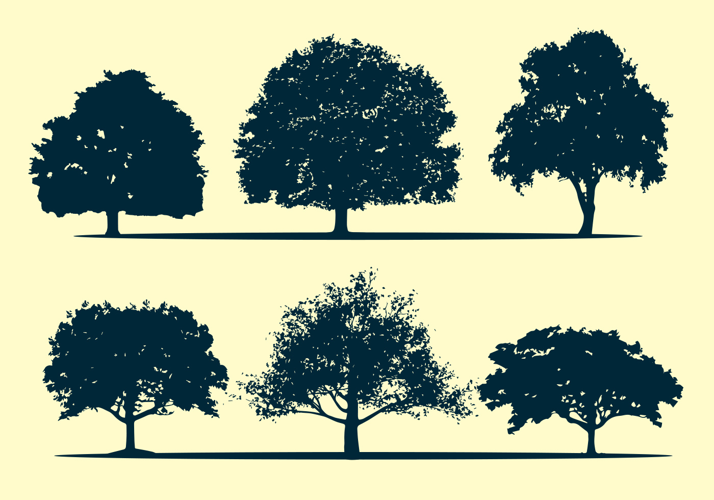 Oak tree silhouette vectors - Download Free Vector Art ...