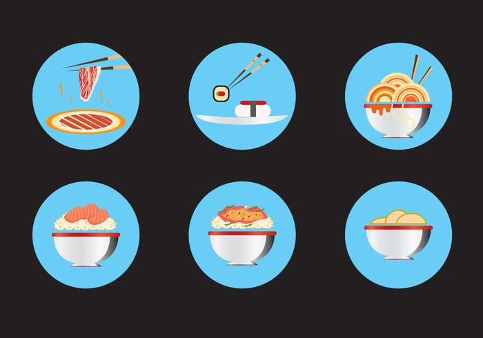 Oriental Food Icon Vectors