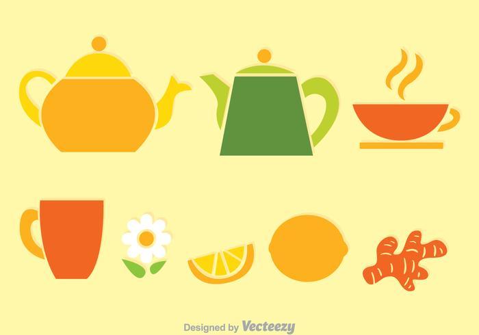 Tea Set Colors Vectors