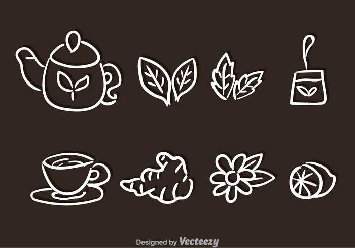 Tea Set Hand Drawn Vectors