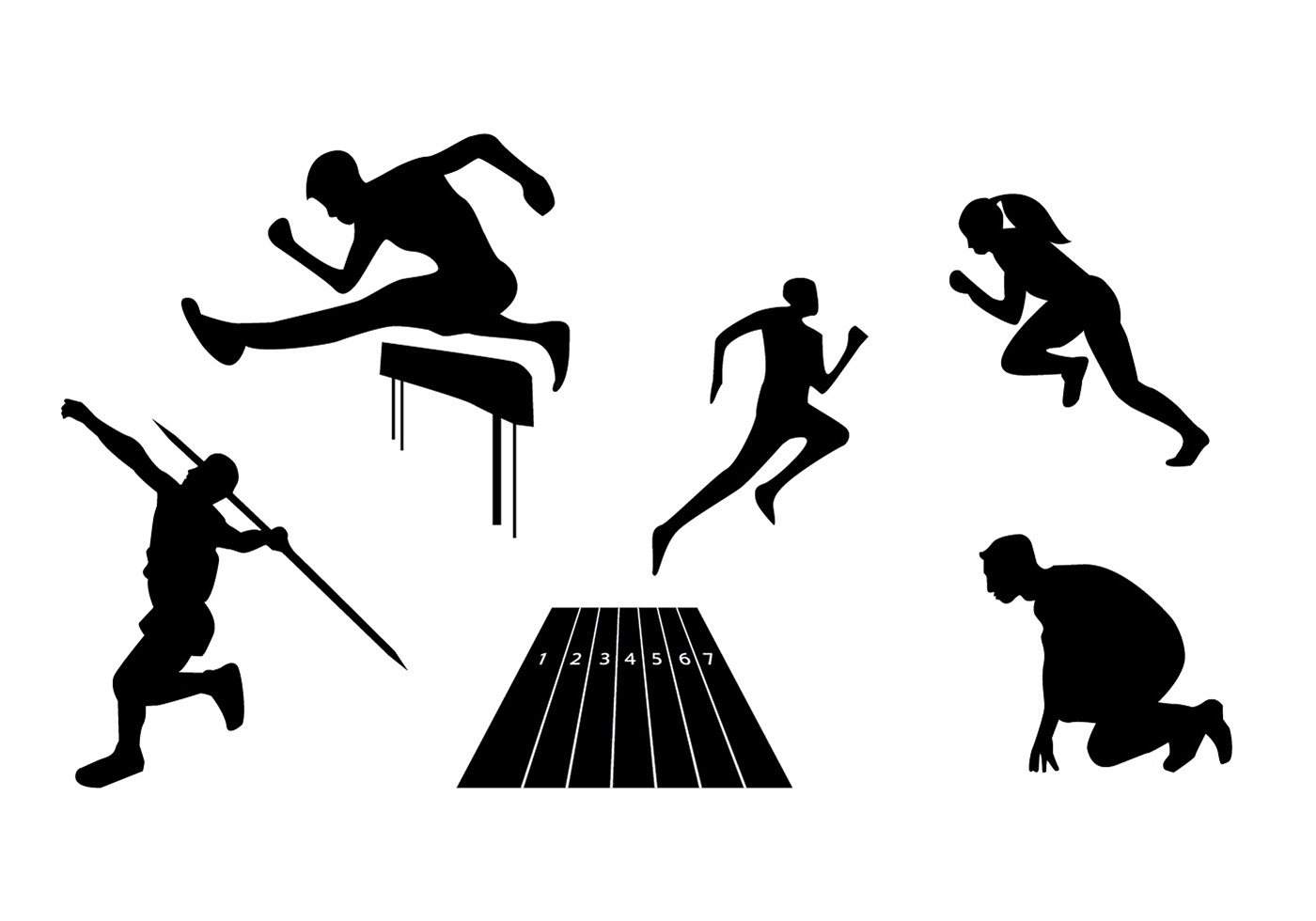 Dynamic Sports Figures Silhouette: Download Free Vector Art, Stock Graphics