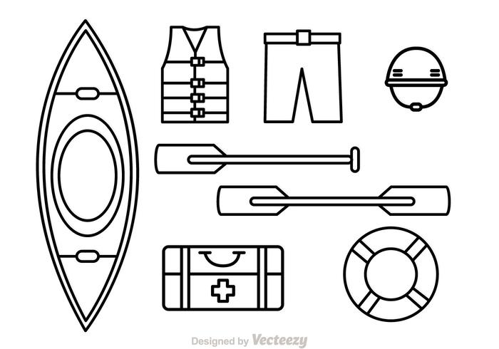 River Rafting Outline Icons