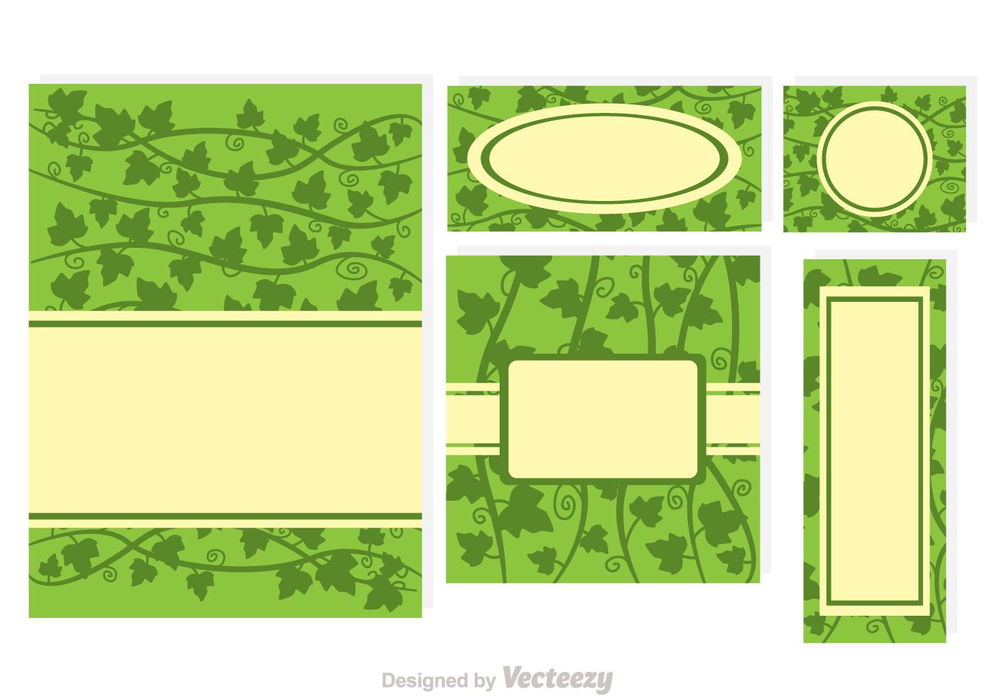 Greeting Cards Ivy Vine Set Download Free Vector Art Stock