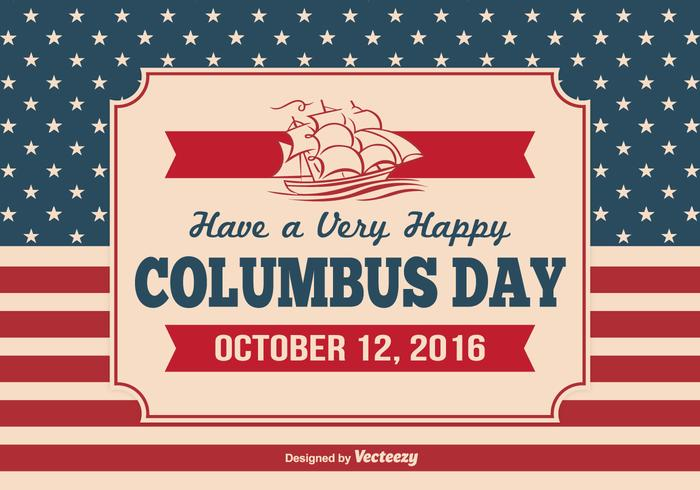 Vintage Columbus Day Illustration