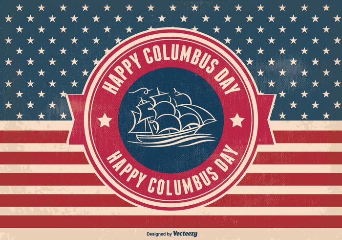 Columbus Day Retro Style Illustration