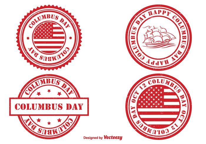 Ensemble de timbres de jour de Columbus vecteur