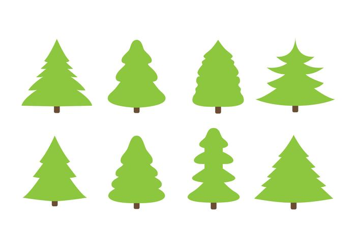 Free Flat Christmas Trees Vector