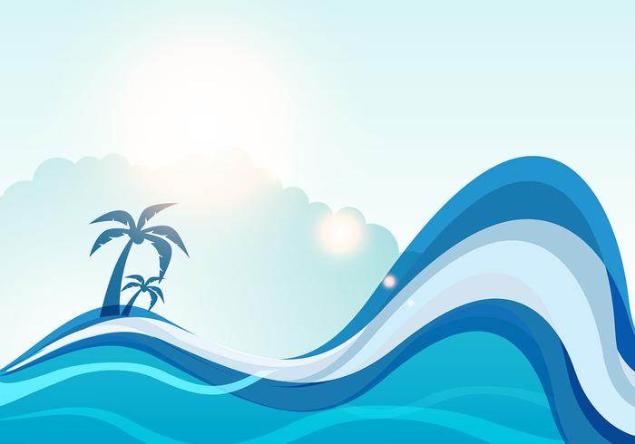 Summer sea wave vector background