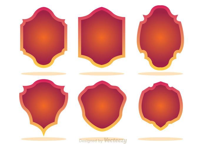 Gradation Shield Shape Icons vector