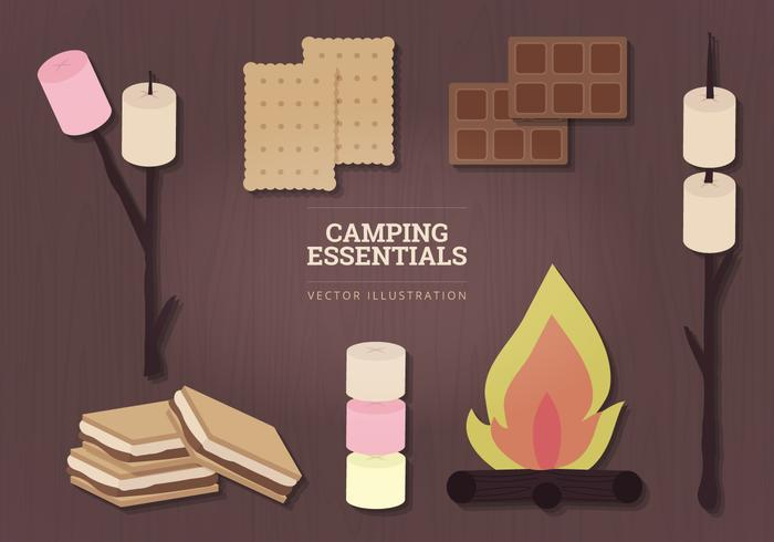 Camping Essentials Vector Illustration