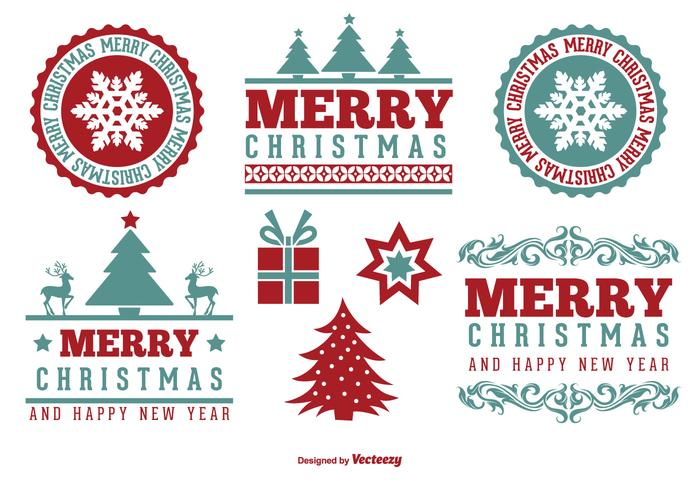 Cute Merry Christmas Label Set
