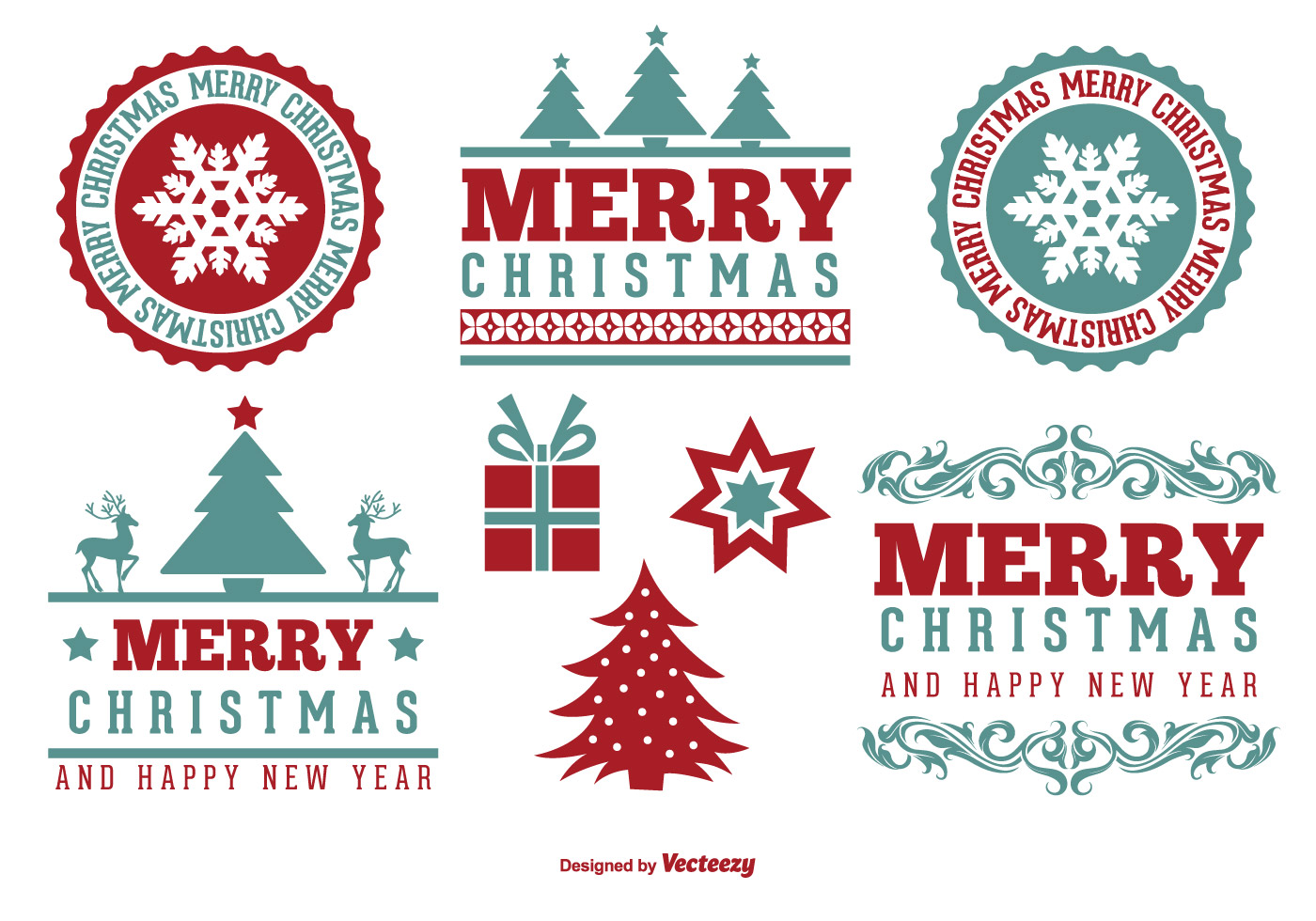 cute merry christmas label set download free vector art stock