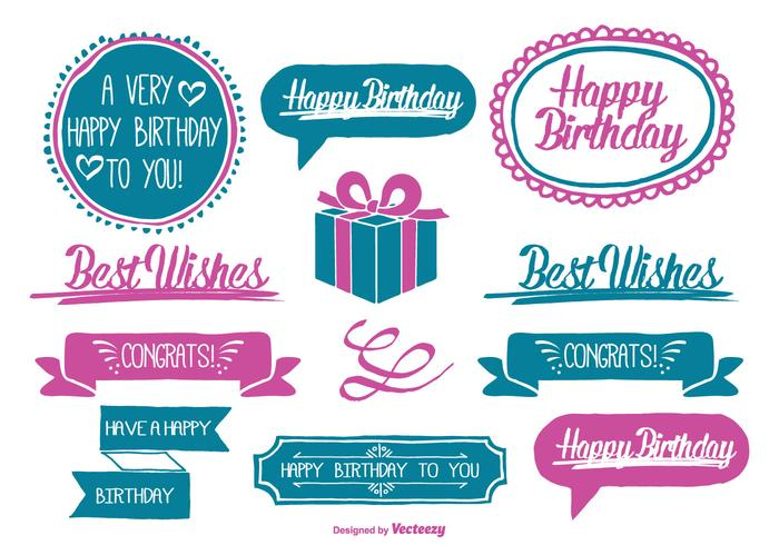 Cute Hand Drawn Style Birthday Labels