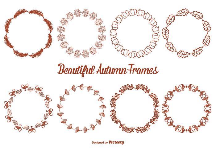 Cute Hand Drawn Style Autumn Frame Set