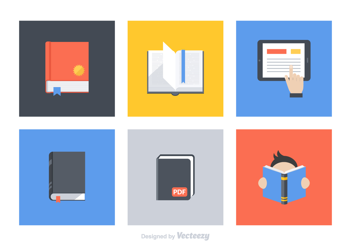 free flat book vector icon set   download free vector art