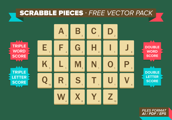 Scrabble pieces free vector pack