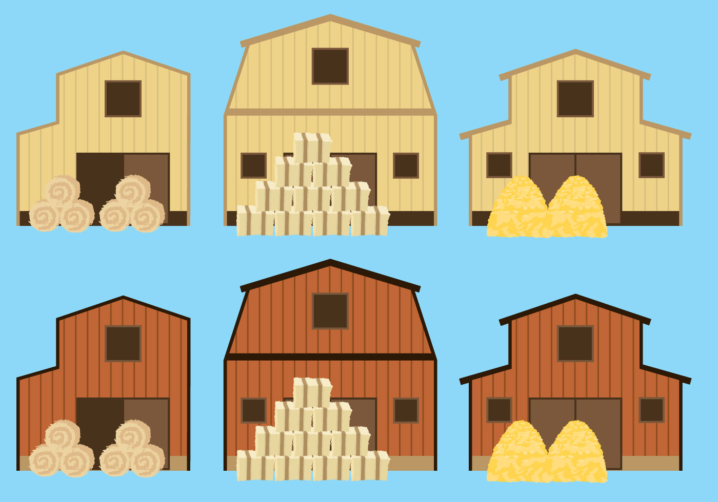 Barns And Hay Bale