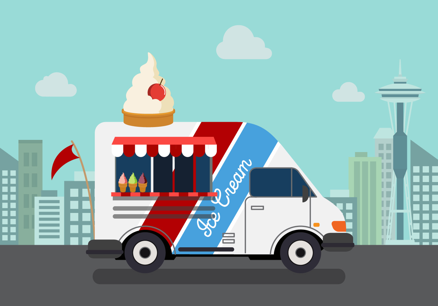 vector ice cream truck
