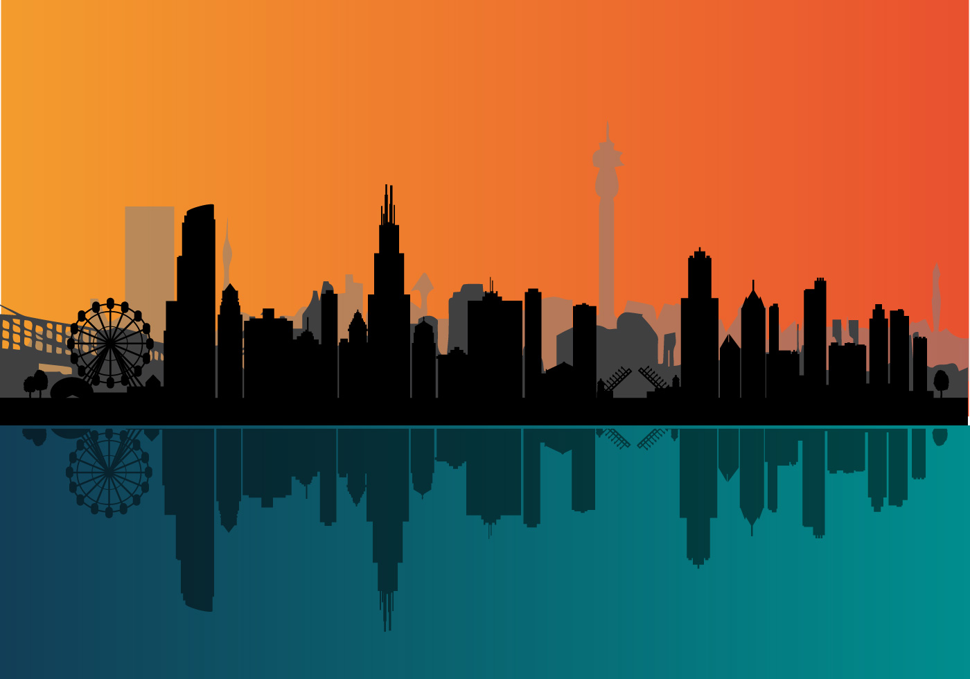 vector chicago night skyline download free vector art chicago skyline flag vector chicago skyline vector png