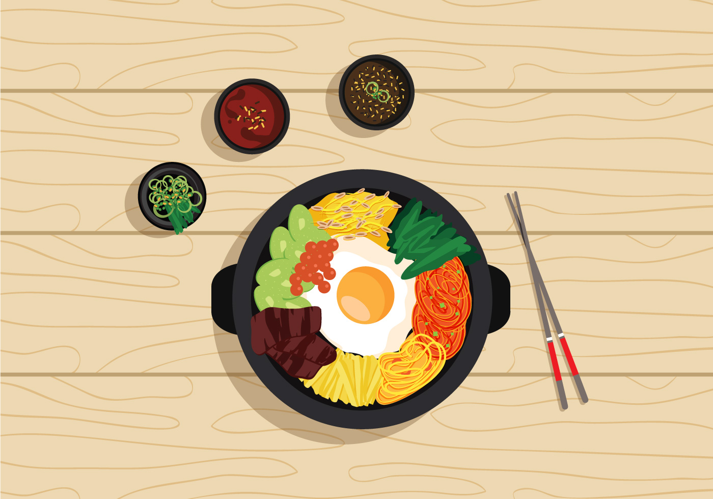 Vector Bibimbap Korean Food Download Free Vector Art