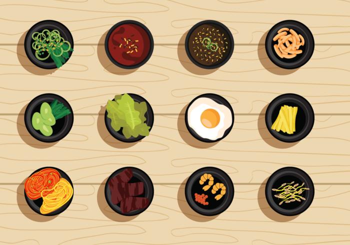Free Vector Illustration Set of Korean Food