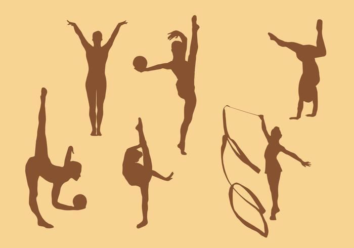 Gymnastic silhouette vectors