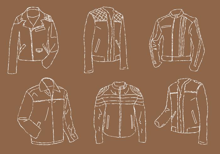 Leather Jacket Line Art Vector Set
