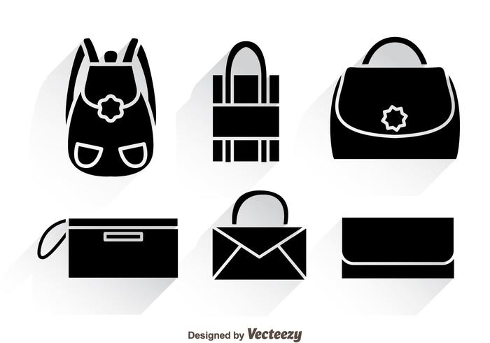 Bag Black Icons With Shadows vector