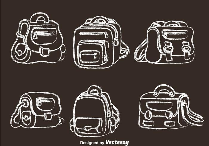 School Bag Chalk Drawn Icons