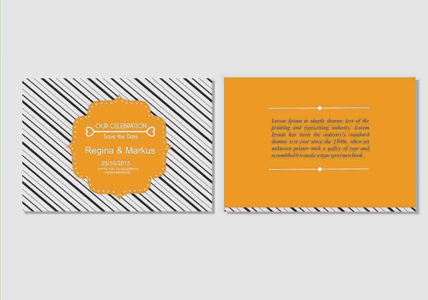 Wedding invitation cards vectors vector wedding invitation templates bold orange wedding invitation vector template download stopboris Choice Image