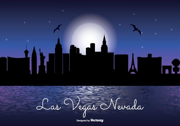 Las Vegas Night Skyline Illustration