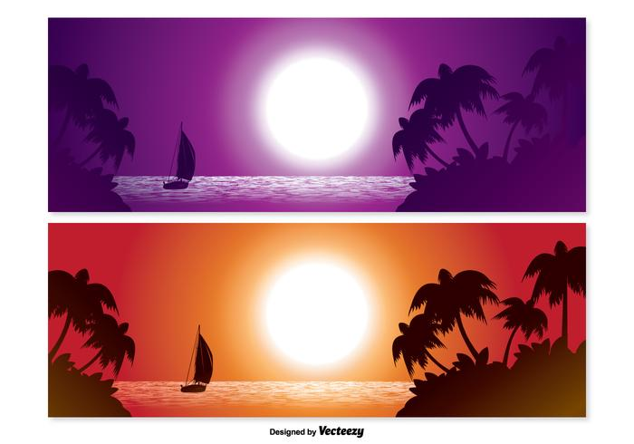 Tropical Scene Banner Set