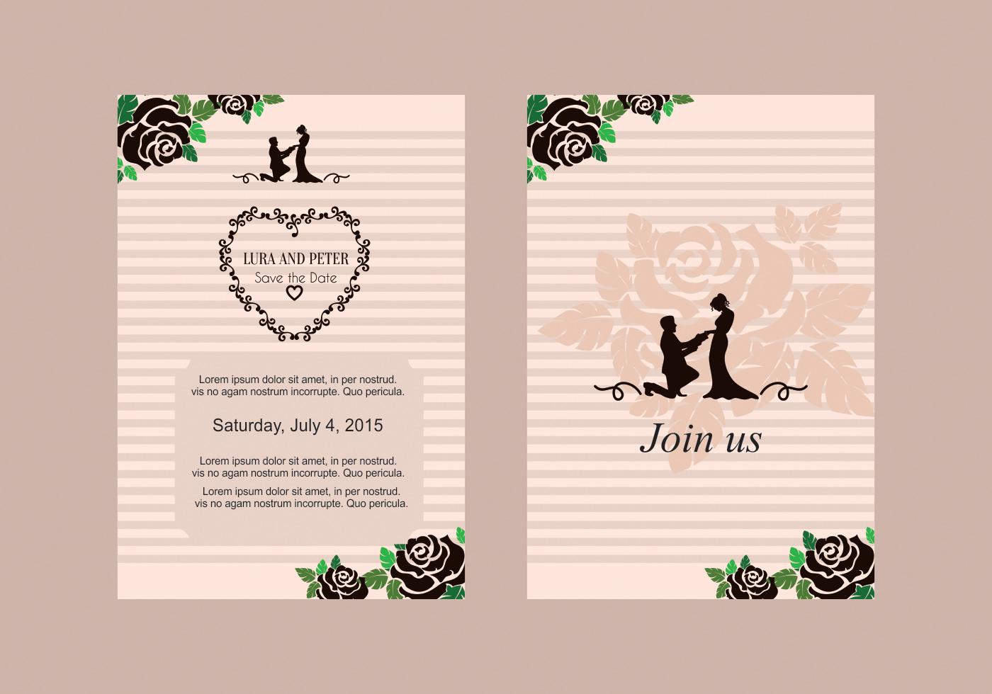 Rose Wedding Invite Vector