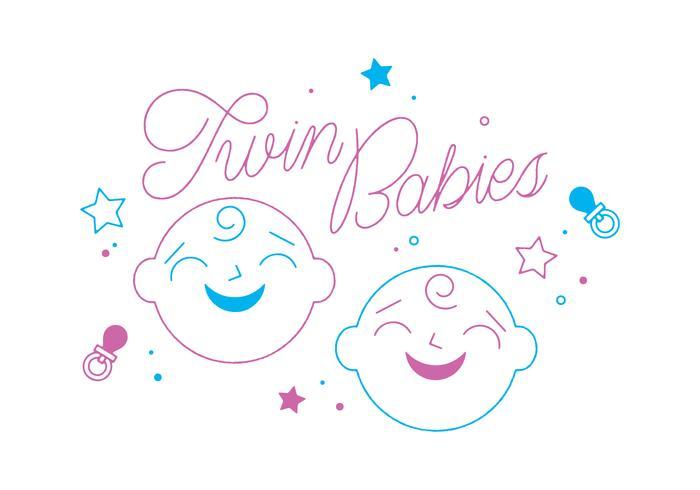 Vector libre de bebés gemelos