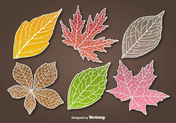 Autumn leaves sticker vectors