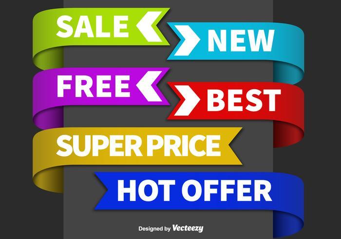 Sale colorful label vectors