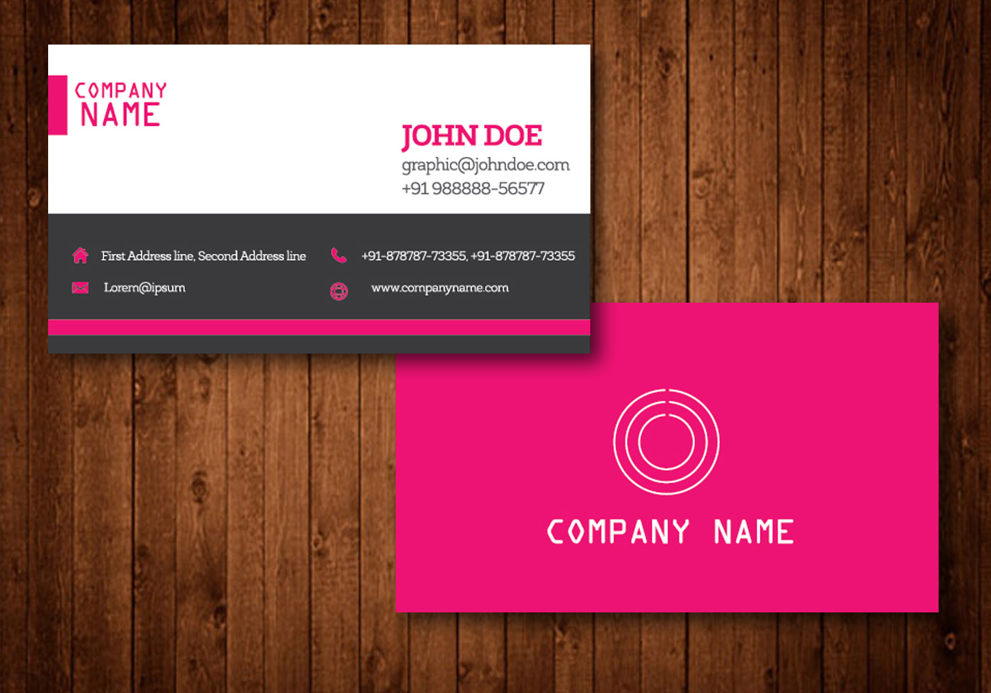 Pink Creative Business Card Vector Template - Download ...
