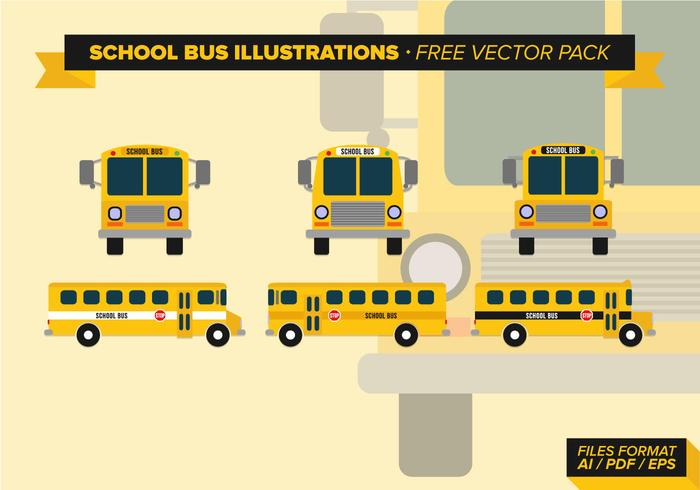 School Bus Illustrations Free Vector Pack