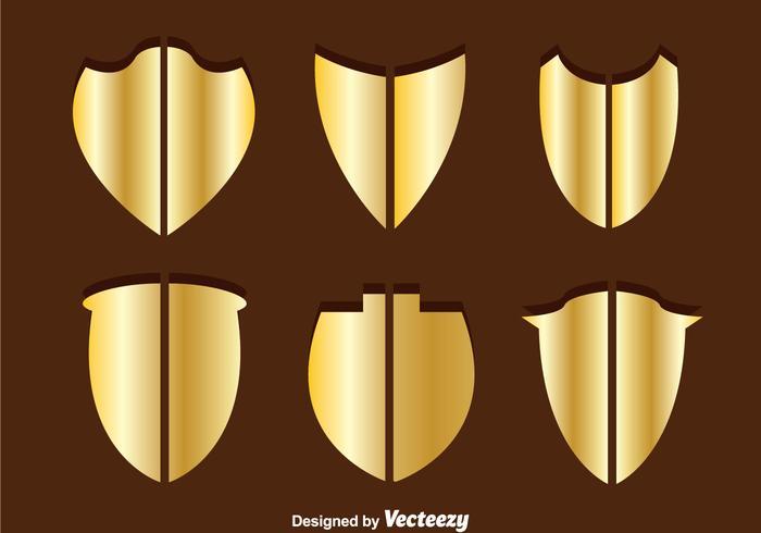 Gold Shield Shape Vectors