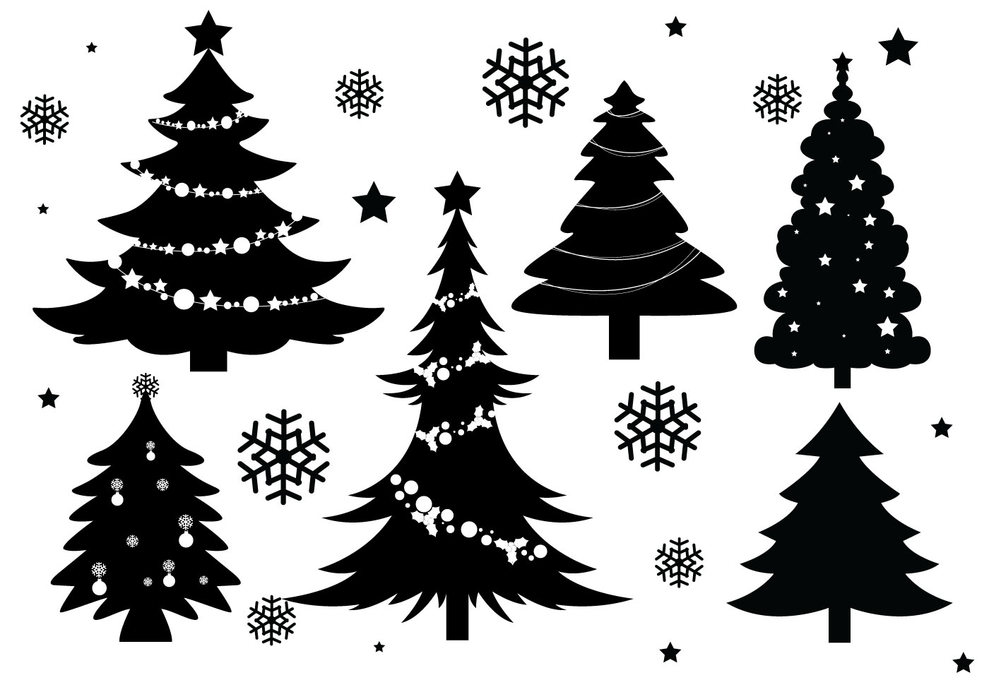 christmas tree silhouette vectors download free vector. Black Bedroom Furniture Sets. Home Design Ideas