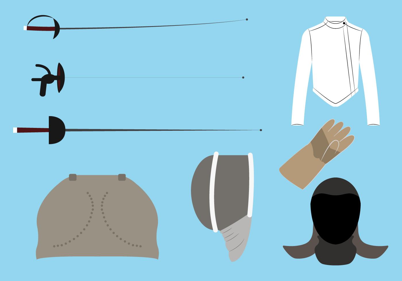 Vector Set of Fencing Equipment - Download Free Vector Art ...