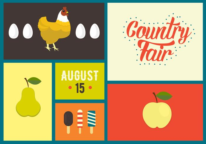 Vector Illustration of Country Fair Symbols