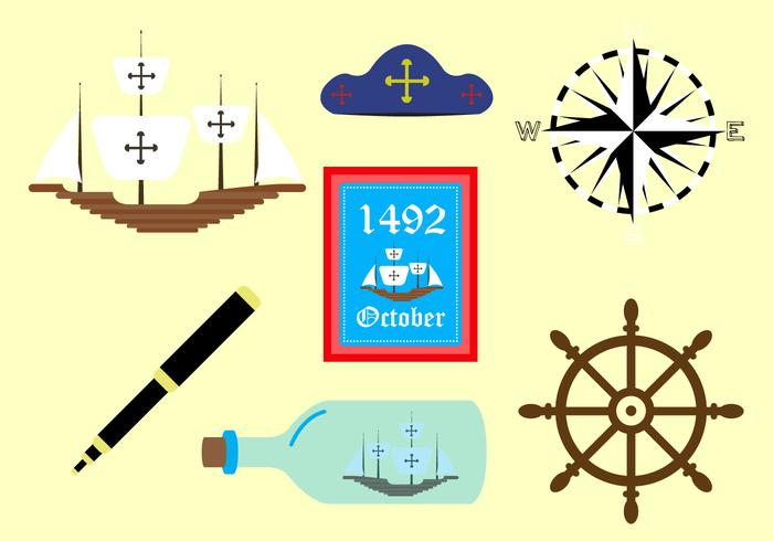 Vector Symbols of Columbus Day