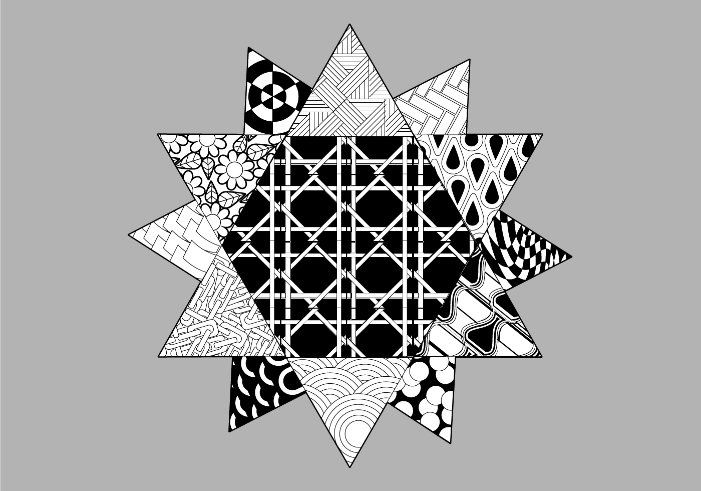 Pattern Filled Coloring Page