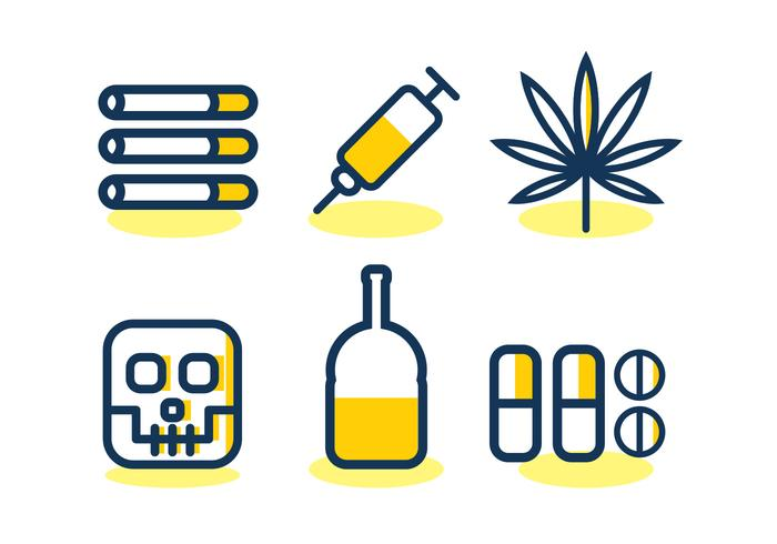 No Drugs Vector Icon Set