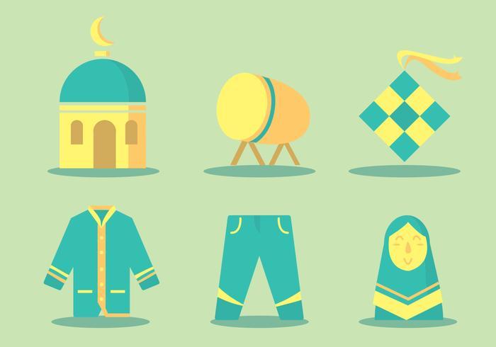 Eid Al Fitr icono conjunto de vectores